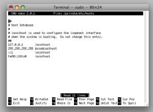 Change hosts file mac terminal