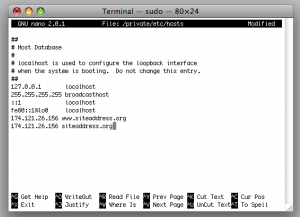 add site to terminal hosts file
