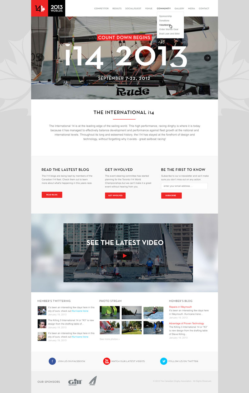 sailing competition website design