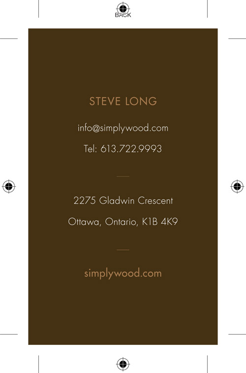 Simplywoodbcardsback500 dalen design ottawa business card design branding reheart Image collections